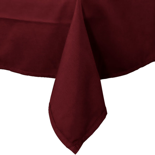 72 inch x 72 inch Burgundy Hemmed Polyspun Cloth Table Cover