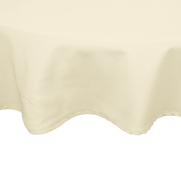 132 inch Round Ivory 100% Polyester Hemmed Cloth Table Cover