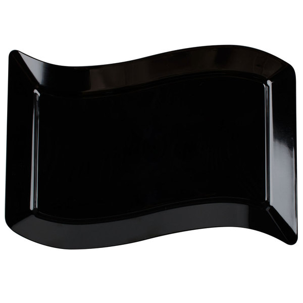 Fineline Wavetrends 1406-BK 6 1/2 inch x 10 inch Black Plastic Salad Plate - 120/Case