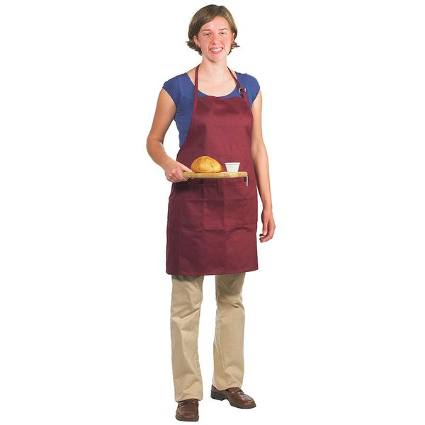 Chef Revival 601BAO-3-BG Customizable Professional Gourmet Full-Length Burgundy Bib Apron - 30 inchL x 28 inchW