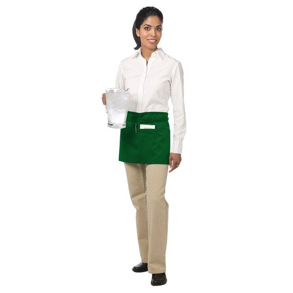 Chef Revival 605WAFH-GN Customizable Kelly Green Front of the House Waist Apron - 12 inchL x 24 inchW