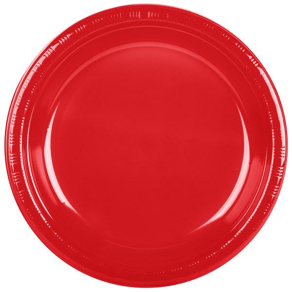 Creative Converting 28103131B 10 1/4 inch Classic Red Plastic Plate - 600 / Case