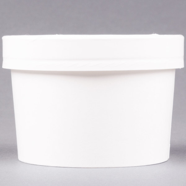 Huhtamaki Chinet 71842 8 oz. Double-Wall Poly White Paper Soup / Hot Food Cup with Vented Paper Lid - 250/Case