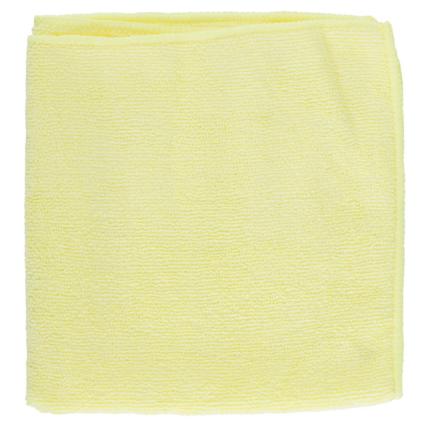 16 inch x 16 inch Yellow Microfiber Cleaning Cloth - 12/Pack