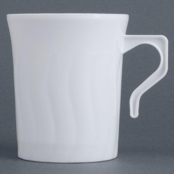 Fineline Flairware White 208-WH 8 oz. Plastic Coffee Mug - 8/Pack