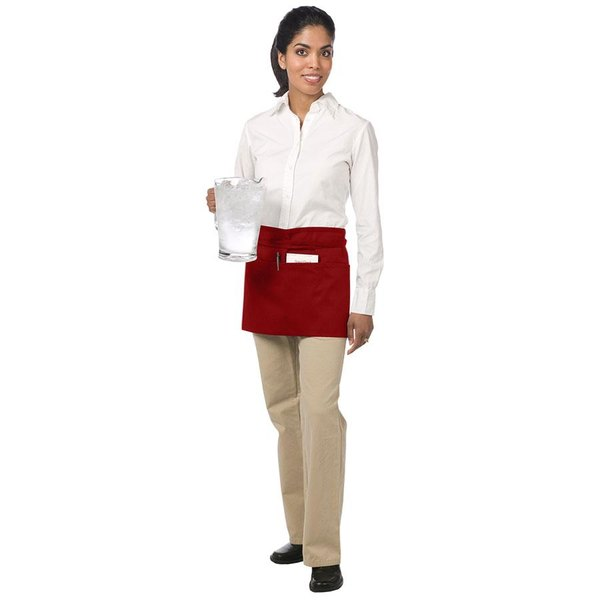 Chef Revival 605WAFH-RD Customizable Red Front of the House Waist Apron - 12 inchL x 24 inchW