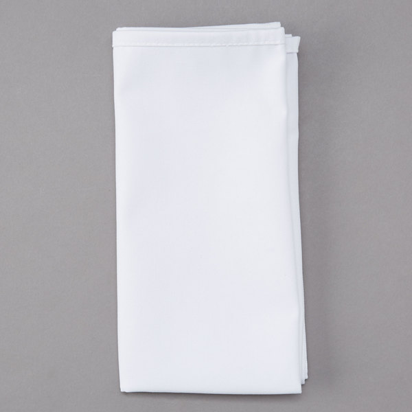 20 inch x 20 inch White Hemmed Polyspun Cloth Napkin - 12/Pack