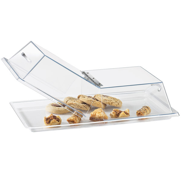 Cal-Mil 328-18 Clear Standard Rectangular Bakery Tray Cover with Center Hinge - 18 inch x 26 inch x 4 inch