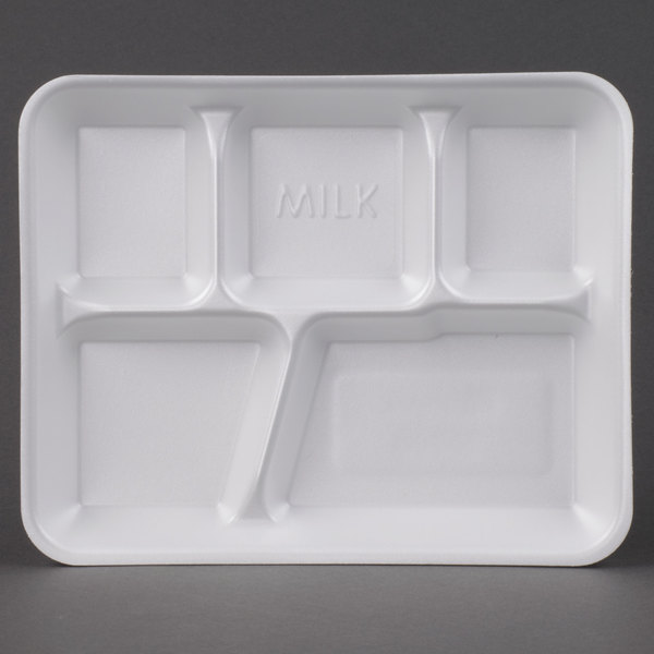Genpak 10500 10 3/8 inch x 8 3/8 inch x 1 3/16 inch 5 Compartment White Foam School Tray 500 / Case
