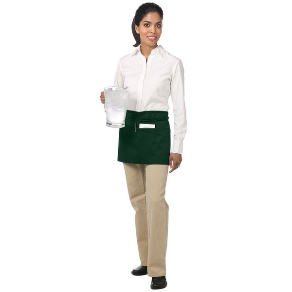 Chef Revival 605WAFH-HG Customizable Hunter Green Front of the House Waist Apron - 12 inchL x 24 inchW