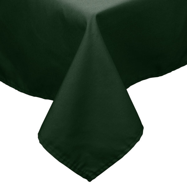 90 inch x 90 inch Forest Green 100% Polyester Hemmed Cloth Table Cover