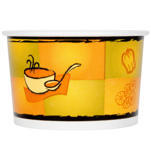 Huhtamaki Chinet 70408 8 oz. Double-Wall Poly Paper Soup / Hot Food Cup with Plastic Lid and Streetside Design - 250/Case