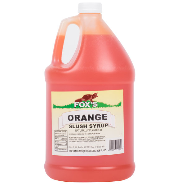 Fox's 1 Gallon Orange Slush Syrup  - 4/Case