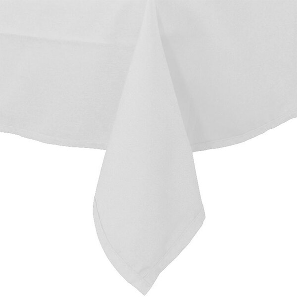 54 inch x 120 inch White 100% Polyester Hemmed Cloth Table Cover