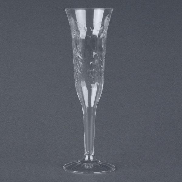 Fineline Flairware 2106 5 oz. Clear Plastic 1 Piece Champagne Flute - 8 / Pack