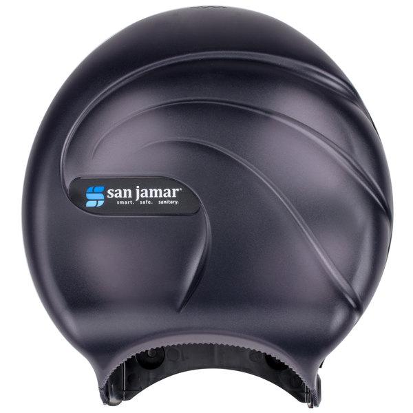 San Jamar R2090TBK Oceans 9 inch Single Roll Jumbo Toilet Tissue Dispenser - Black Pearl