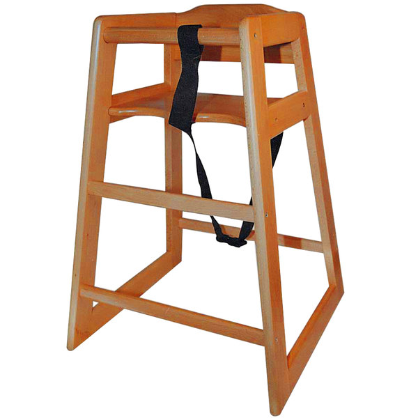 Stacking Unassembled Restaurant Hardwood High Chair with Walnut Finish