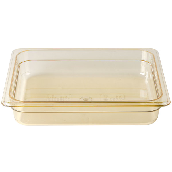 Cambro 22HP150 H-Pan 1/2 Size Amber High Heat Food Pan - 2 1/2 inch Deep