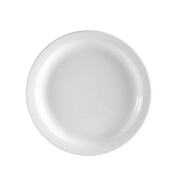 CAC NCN-9 Clinton Bright White Narrow Rim 9 1/2 inch Plate - 24 / Case