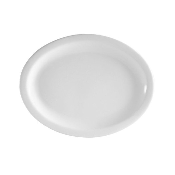 CAC NCN-13 Clinton 11 1/2 inch Bright White Narrow Rim Porcelain Platter - 12/Case