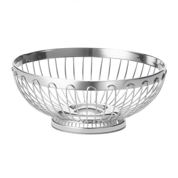 Tablecraft 6175 Round Stainless Steel Regent Basket - 10 inch x 3 3/4 inch