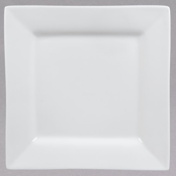 10 Strawberry Street WTR-12SQ Whittier Squares 11 5/8 inch White Square Porcelain Charger Plate  - 6/Case
