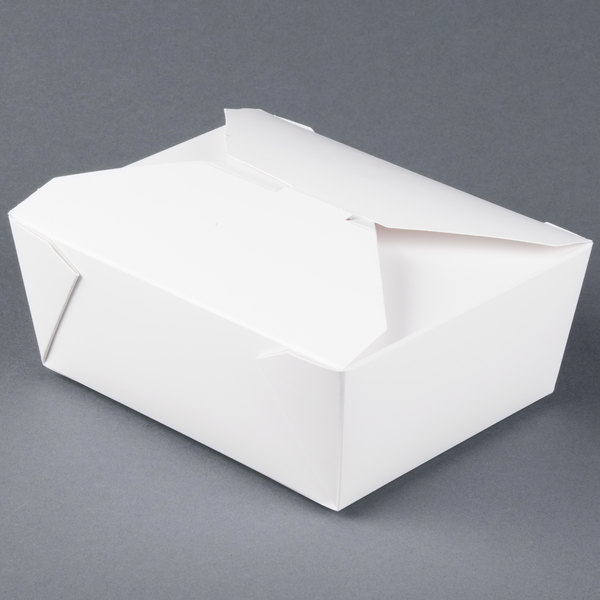 Bio-Pak 08BPWHITEM 6 inch x 5 inch x 2 1/2 inch White Microwavable Paper #8 Take-Out Container - 300/Case