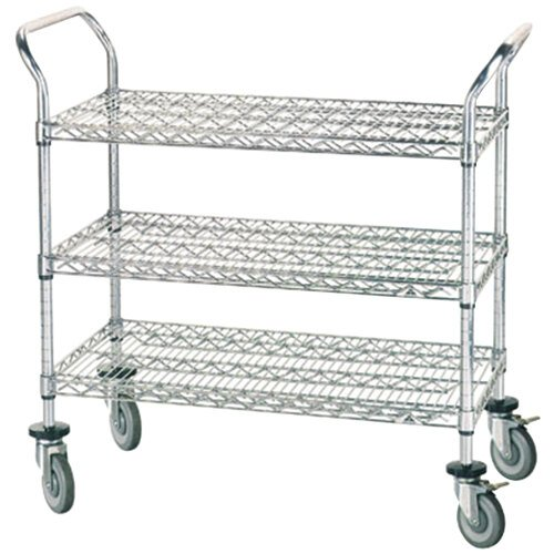 Advance Tabco WUC-2442P 24 inch x 42 inch Chrome Wire Utility Cart with Poly Casters