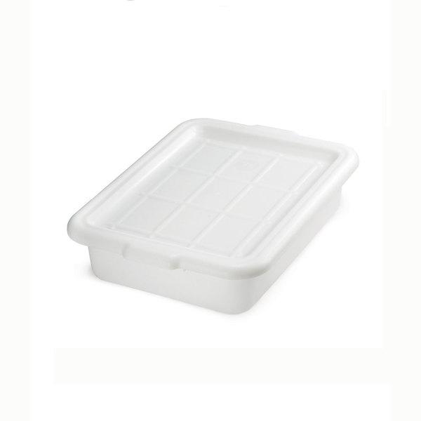 Tablecraft F1529 White 21 inch x 16 inch x 5 inch Polyethylene Plastic Bus Tub, Bus Box