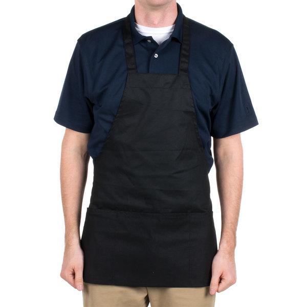 Choice Black Full Length Bib Apron with Pockets - 25 inchL x 28 inchW