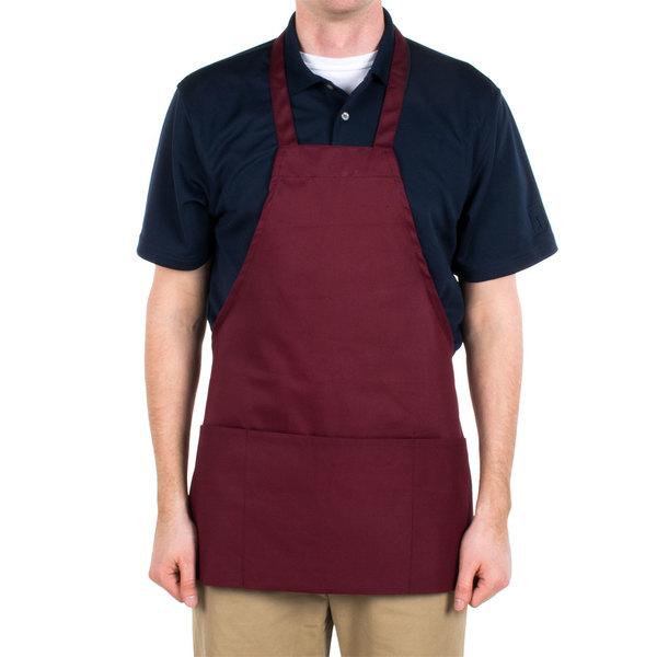 Choice Burgundy Full Length Bib Apron with Pockets - 25 inchL x 28 inchW