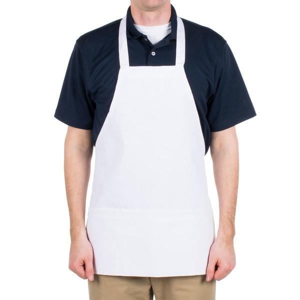 Choice White Full Length Bib Apron with Pockets- 25 inchL x 28 inchW