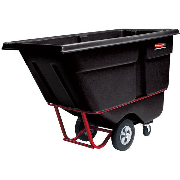 Rubbermaid FG130500BLA Black 0.5 Cubic Yard Tilt Truck (850 lb.)