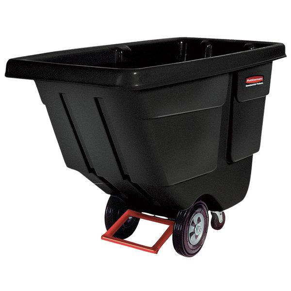 Rubbermaid FG131400BLA Black 1.0 Cubic Yard Tilt Truck (850 lb.)