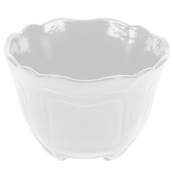 Tablecraft CW1454W 1.3 Qt. White Cast Aluminum Round Condiment Bowl