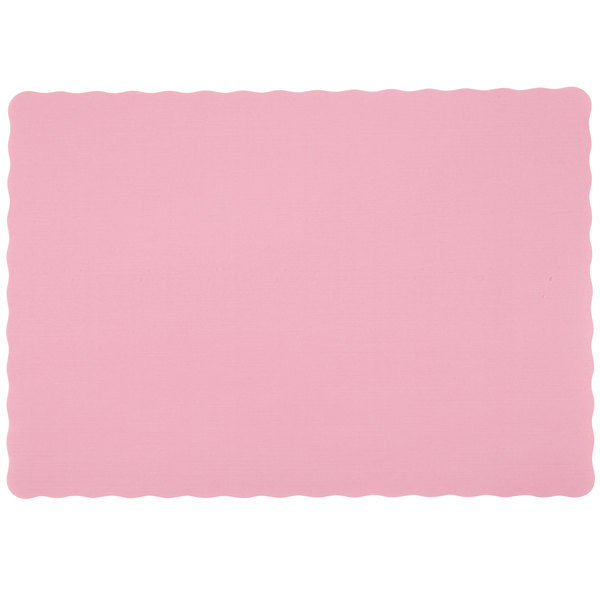 10 inch x 14 inch Misty Rose Colored Paper Placemat with Scalloped Edge - 1000/Case