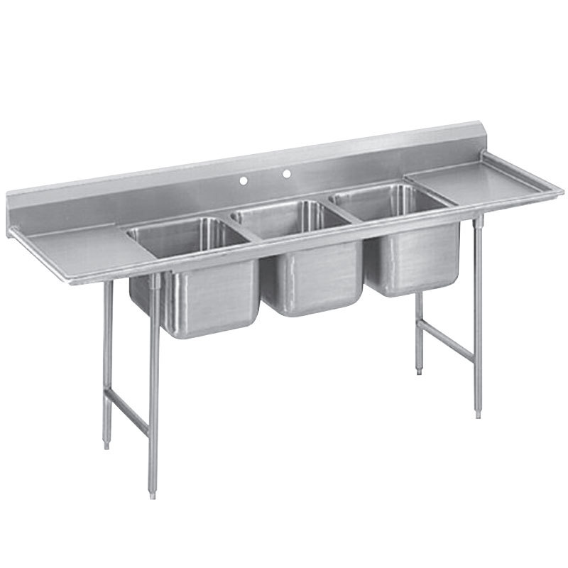 ... 36RL Spec Line Three Compartment Pot Sink with Two Drainboards - 127
