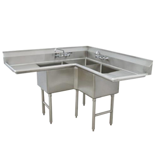 Tabco FC-K6-18D Three Compartment Stainless Steel Commercial Sink ...