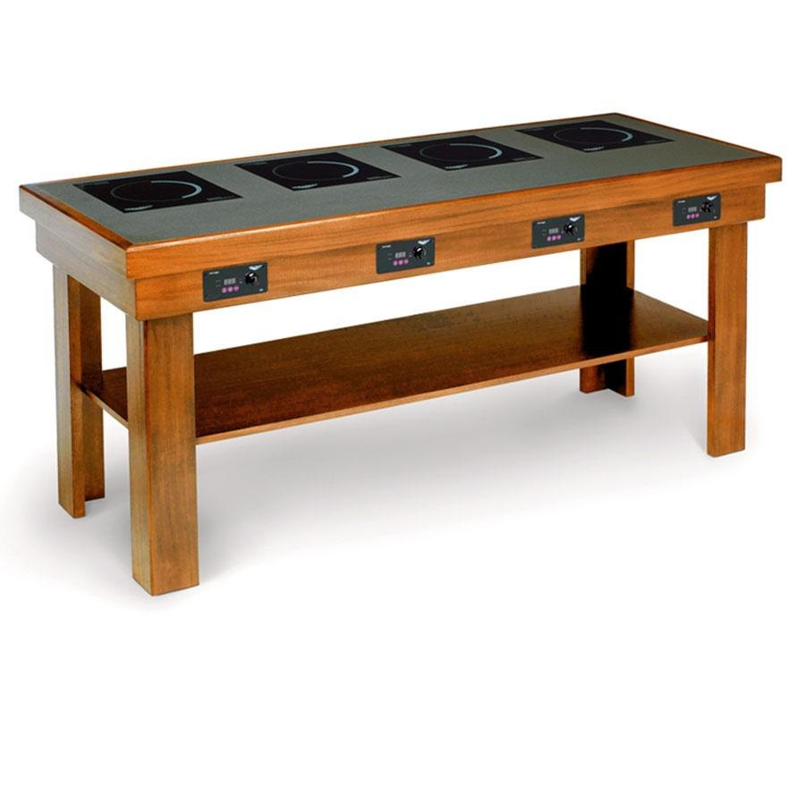 Vollrath 75525 medium oak buffet table with 4 induction - Table induction 4 feux ...