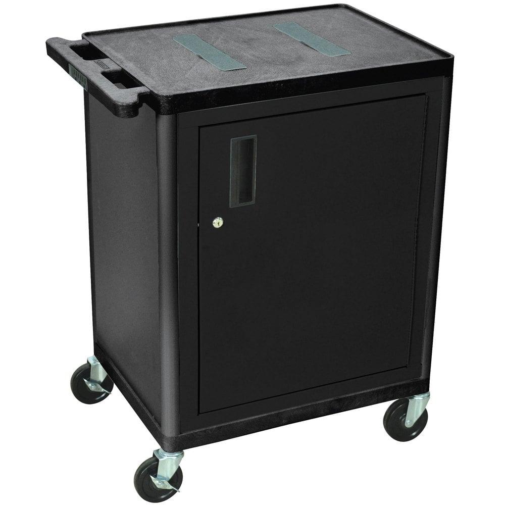 Luxor H Wilson Lef34c B 2 Shelf Black A V Cart With