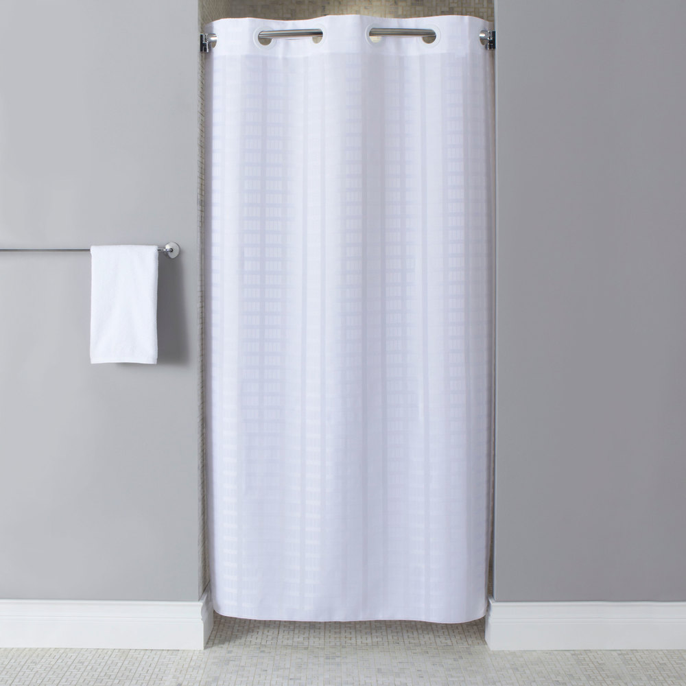 Hookless HBH43LIT01SX White Stall Size Litchfield Shower Curtain With Matchin