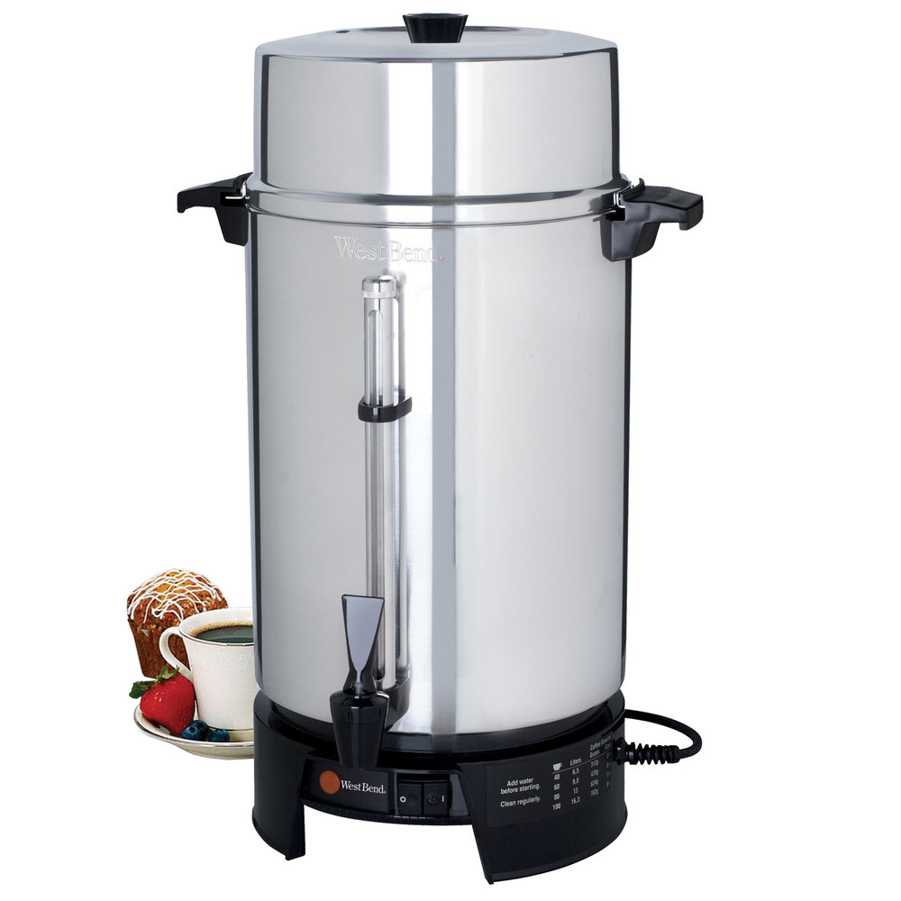 Coffee Maker Cup Size : West Bend 58010V Commercial 100 Cup Aluminum Coffee Maker - 220V (International Use Only)