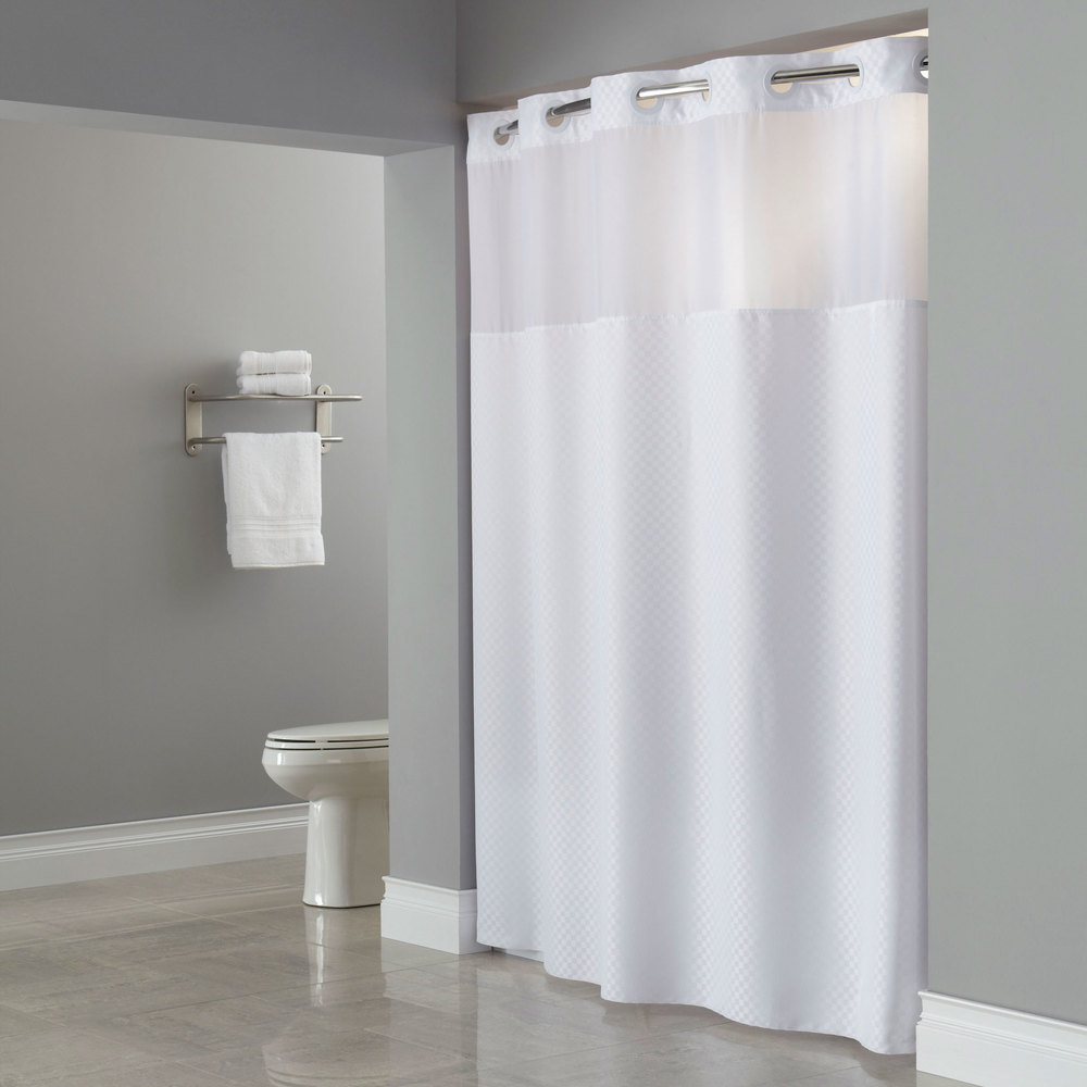 Hookless Hbh72ptm0177 White Repet One Planet Daytona Shower Curtain With Matching Flat Flex On