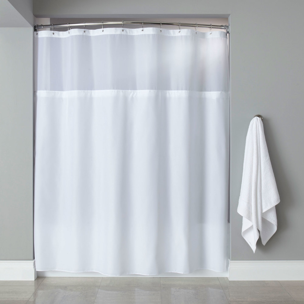 Shower Curtain with Buttonhole Header, It's A Snap! Polyester Liner ...