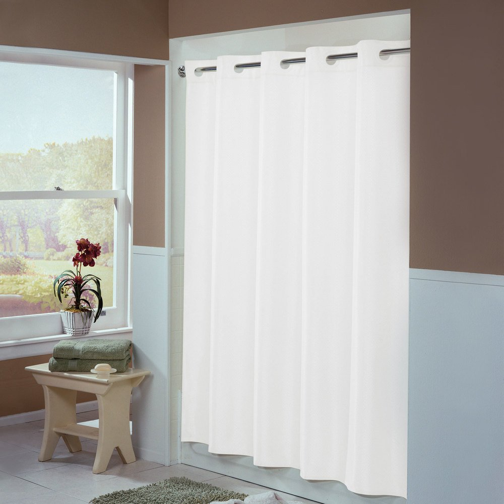 Hookless Hbh44eng01x White Englewood Shower Curtain With Matching Flat Flex On Rings And