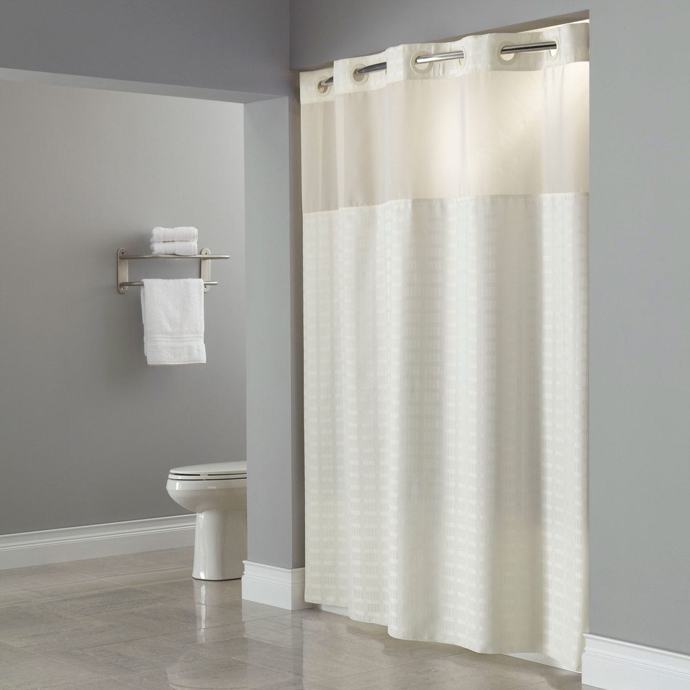 hookless hbh43mys0577 beige madison shower curtain with. Black Bedroom Furniture Sets. Home Design Ideas