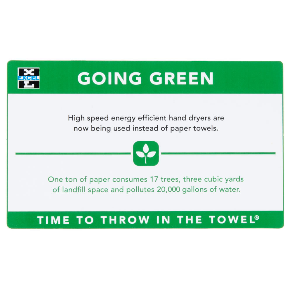 """Excel 676 """"Going Green"""" Sign for Hand Dryers"""
