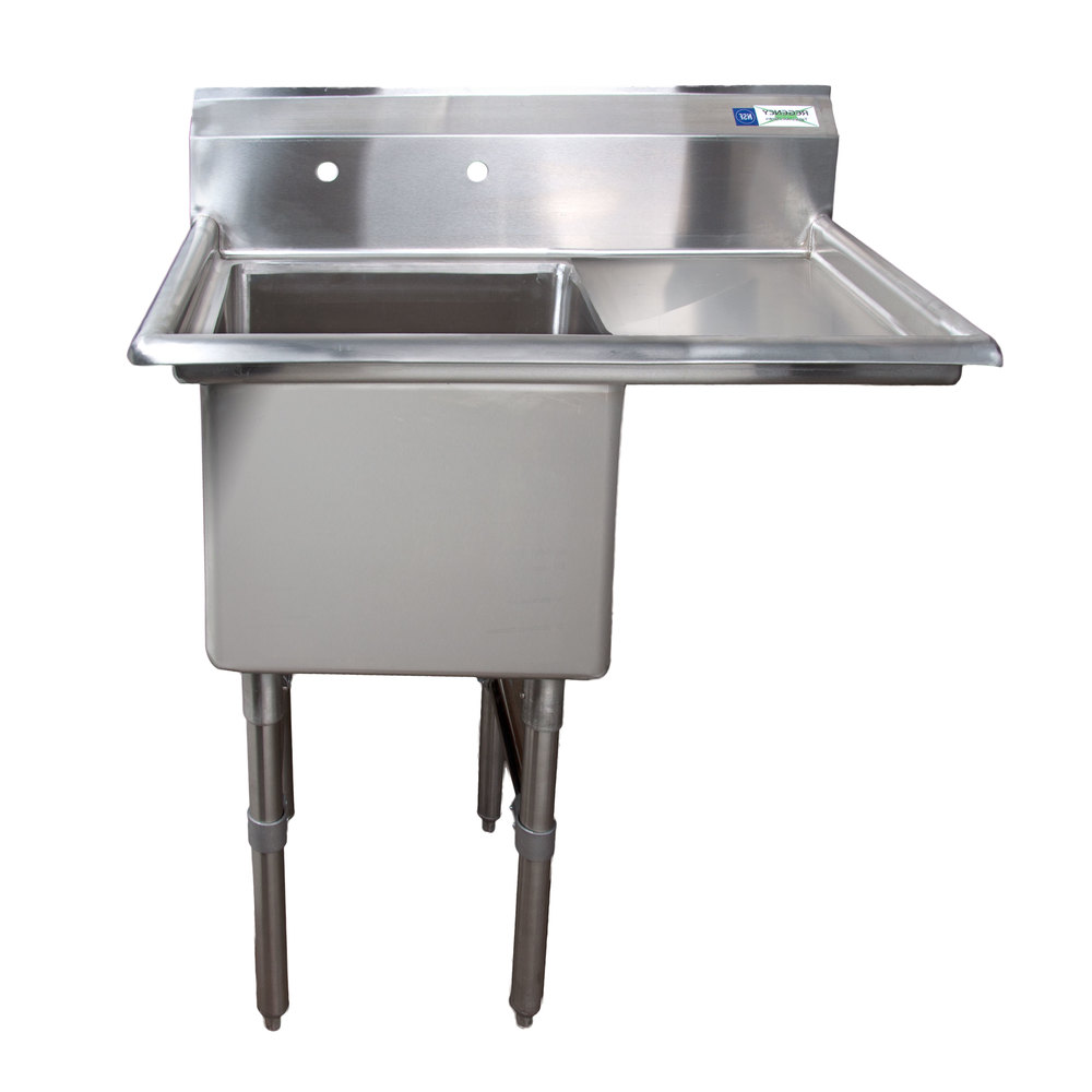 Stainless Steel Sinks With Drainboards : ... Stainless Steel One Compartment Commercial Sink with 1 Drainboard - 18