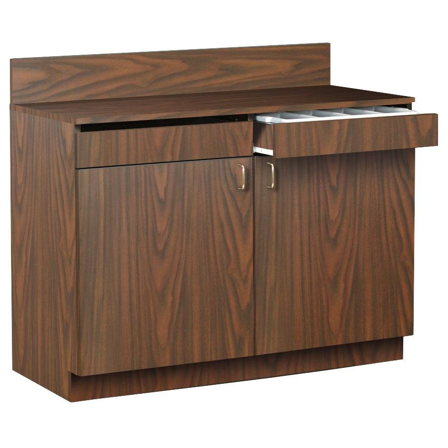 "48"" Walnut Waitress Station with 2 Drawers, 2 Adjustable"