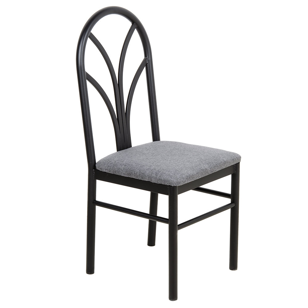 gray 4 spoke restaurant dining room chair with 1 3 4 padded seat